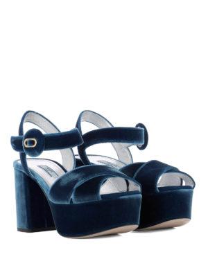 Prada: sandals online - Light blue velvet platform sandals