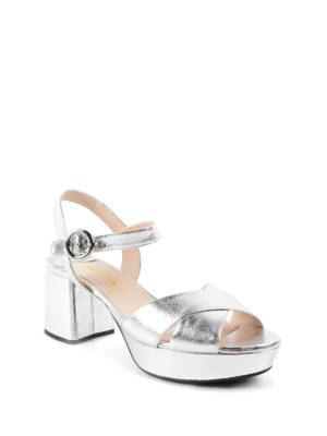 Prada: sandals online - Metallic leather sandals