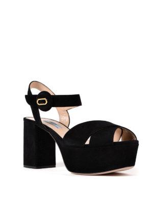 Prada: sandals online - Platform black suede sandals