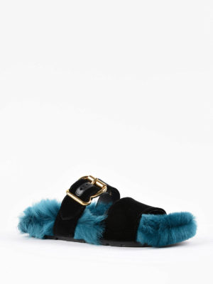 Prada: sandals online - Shearling and velvet slide sandals