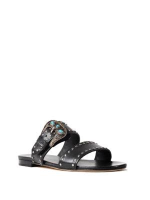 Prada: sandals online - Studded buckled leather sandals