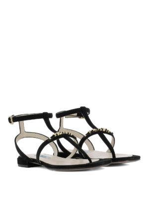 Prada: sandals online - T-bar suede flat sandals