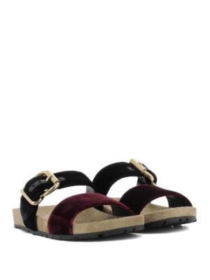 Prada: sandals online - Two-tone velvet slide sandals