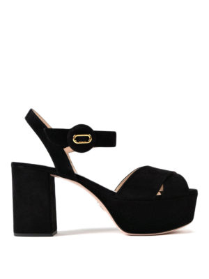 Prada: sandals - Platform black suede sandals