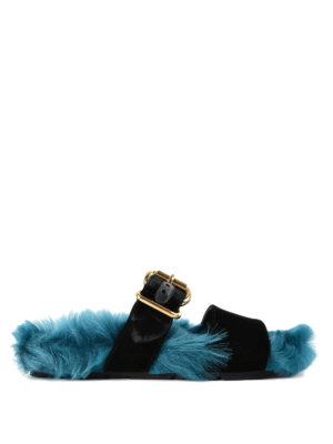 Prada: sandals - Shearling and velvet slide sandals