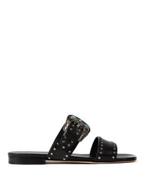 Prada: sandals - Studded buckled leather sandals