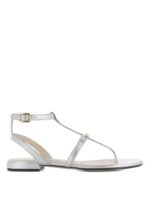 Prada: sandals - T-bar silver saffiano flat sandals