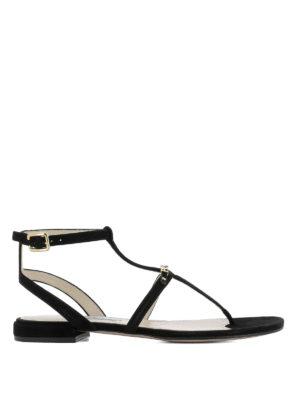 Prada: sandals - T-bar suede flat sandals