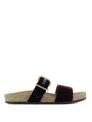 Prada: sandals - Two-tone velvet slide sandals