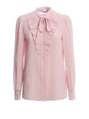 Prada: shirts - Bow detail ruched silk shirt