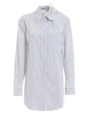 PRADA: camicie - Camicia in popeline a righe con fiocco