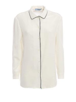 Prada: shirts - Contrasting trimmed silk shirt