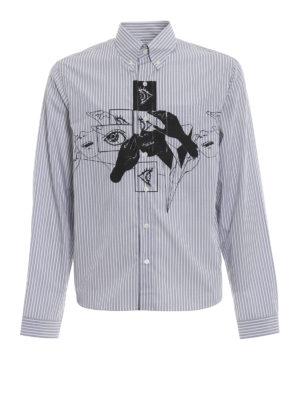 PRADA: camicie - Camicia a righe con stampa occhi