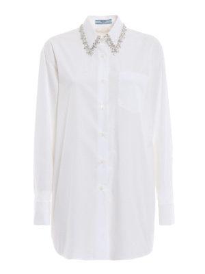 PRADA: camicie - Camicia over in cotone con colletto gioiello
