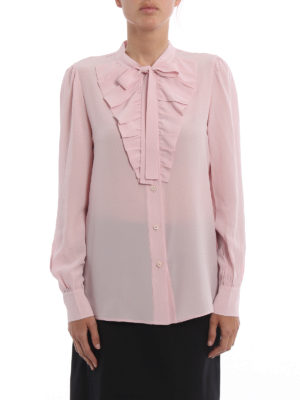 Prada: shirts online - Bow detail ruched silk shirt