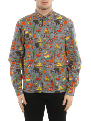Prada: shirts online - Exotic print cotton shirt