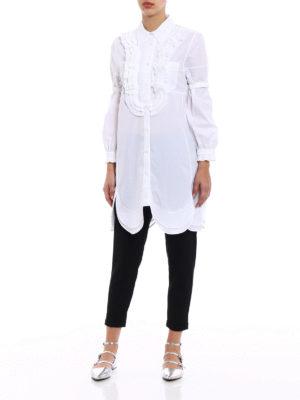 Prada: shirts online - Poplin compact white long shirt