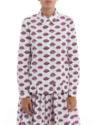 Prada: shirts online - Ruched kiss print poplin shirt
