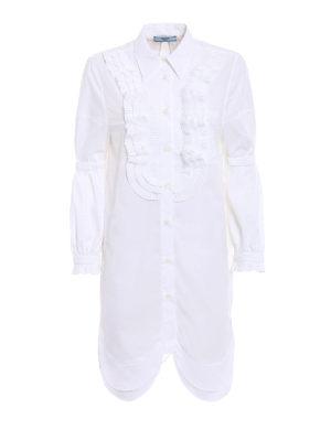 Prada: shirts - Poplin compact white long shirt