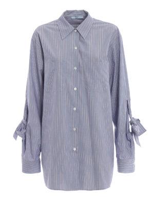 PRADA: camicie - Camicia in popeline a righe con fiocchi
