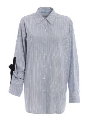 PRADA: camicie - Camicia a righe con fiocco in velluto