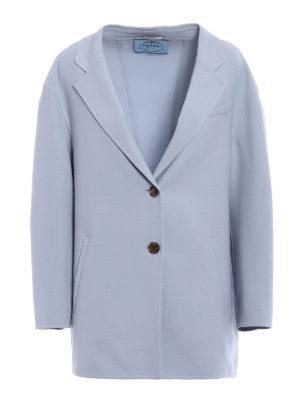 Prada: short coats - Double natté wool loose peacoat