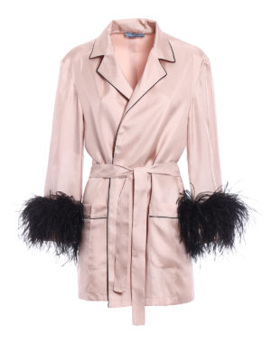 Prada: short coats - Feather cuffs twill silk wrap coat