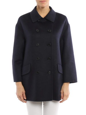Prada: short coats online - Cashgora blend peacoat