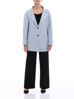 Prada: short coats online - Double natté wool loose peacoat