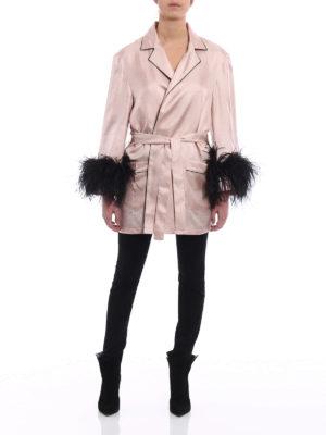 Prada: short coats online - Feather cuffs twill silk wrap coat