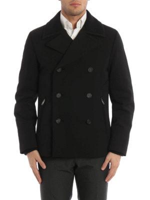 Prada: short coats online - Wool detailed gabardine peacoat