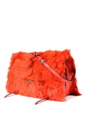 Prada: shoulder bags online - Etiquette shearling and leather bag
