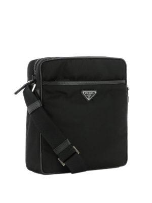 Prada: shoulder bags online - Logo detailed nylon shoulder bag