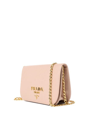 Prada: shoulder bags online - Saffiano leather small pink bag