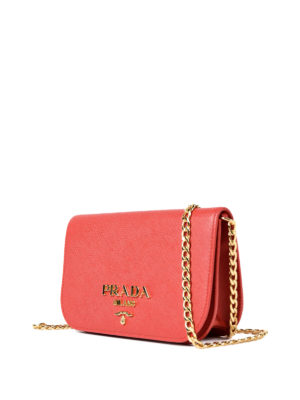 Prada: shoulder bags online - Saffiano leather small red bag