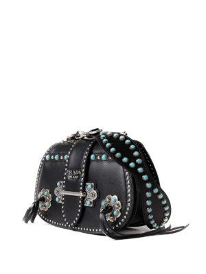 Prada: shoulder bags online - Stones embellished leather bag