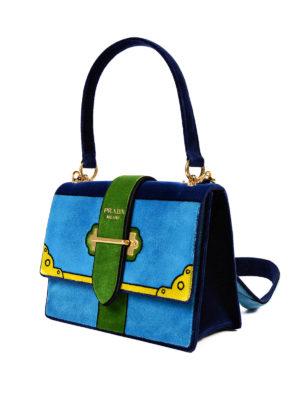 Prada: shoulder bags online - Velvet embroidered shoulder bag