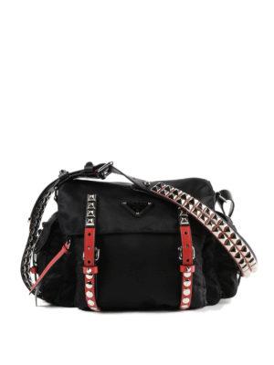 PRADA: borse a spalla - Borsa a spalla in nylon con dettagli rossi