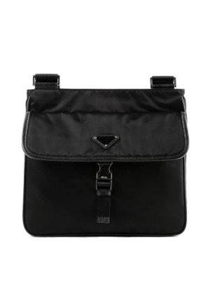 PRADA: borse a spalla - Messenger in nylon nero con Saffiano