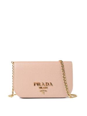 Prada: shoulder bags - Saffiano leather small pink bag