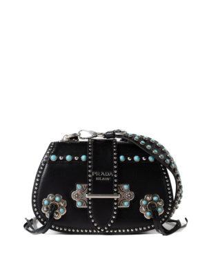 Prada: shoulder bags - Stones embellished leather bag