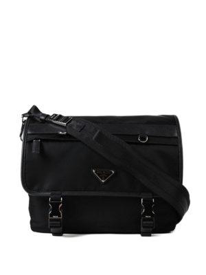 Prada: shoulder bags - Techno fabric foldover messenger