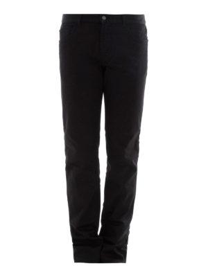 Prada: straight leg jeans - Logo detailed stretch cotton jeans