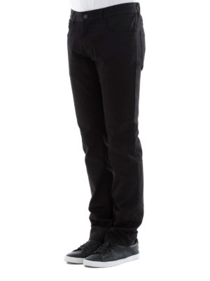 Prada: straight leg jeans online - Logo detailed stretch cotton jeans