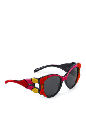 Prada: sunglasses - Velvet detailed sunglasses