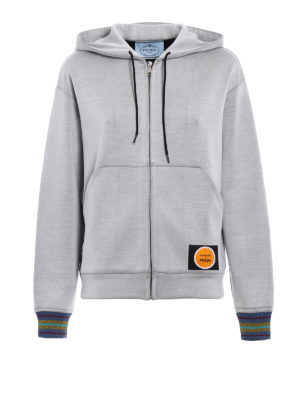Prada: Sweatshirts & Sweaters - Printed techno jersey hoodie