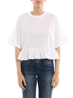 Prada: t-shirts online - Oversize flounced crop T-shirt