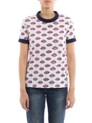 Prada: t-shirts online - Rib-knitted edges printed T-shirt