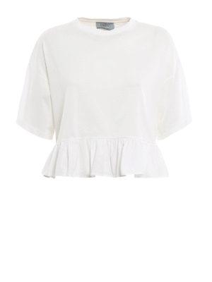 Prada: t-shirts - Oversize flounced crop T-shirt