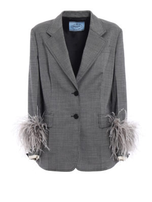 Prada: Tailored & Dinner - Feather detailed grisaille blazer